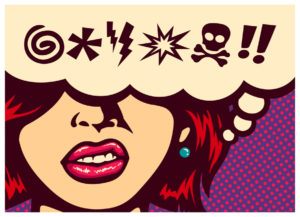 Dreams about Strangers: Royalty-free stock vector ID: 573523534 Pop art style comics panel angry woman grinding teeth with speech bubble and swear words symbols vector poster design illustration
