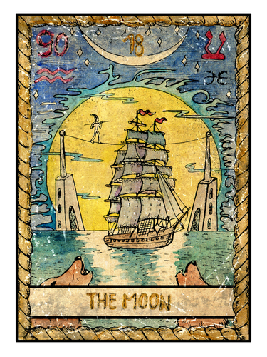water in dreams: tarot card the Moon with water and associated symbols